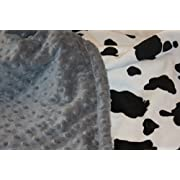 Minky Blanket - Baby Blanket, Toddler Blanket, Child Blanket - Black and White Cow Minky (Large (@35 X40 ), Grey)