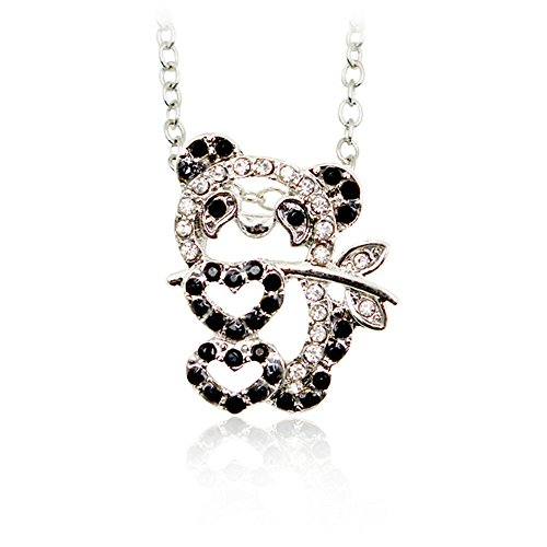 Two Tone Panda Bear Crystal Pendant Necklace for Women 20