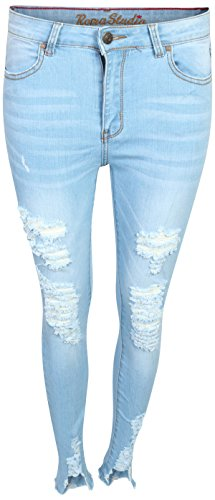 Bleached Skinny Jeans - Roma Studio Women\'s High Rise Distressed Roll Cuff Shaping Stretch Denim Skinny Jeans (15, Ice Wash)'