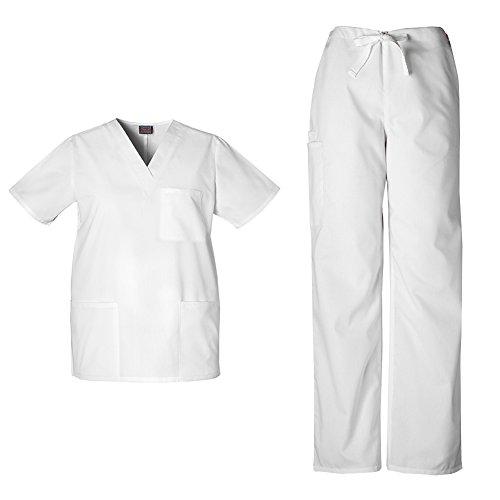 Cherokee Workwear Unisex V-neck Top 4876 and Cherokee Workwear Unisex Drawstring Cargo Pant 4100 (White - X-Small)