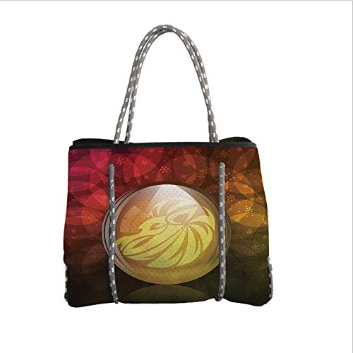 Neoprene Multipurpose Beach Bag Tote Bags,Astrology,Translucent Snow Globe with Zodiac Sign Leo on Floral Background Print,Red Yellow Dark Green,Women Casual Handbag Tote Bags