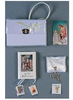 Girl's First Communion Set 6 Piece Deluxe Communion Gift Set Includes: Purse, Missal, Rosary, Satin Rosary Case, Scapular, Purse and Pin- Boxed