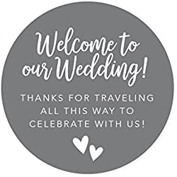Andaz Press Out of Town Bags Round Circle Gift Labels Stickers, Welcome to Our Wedding Thanks for Traveling to Celebrate with Us, Gray, 40-Pack, for Destination OOT Gable Boxes