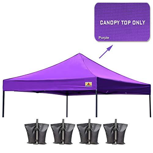(ABCCANOPY Replacement Top Cover 100% Waterproof (18+ Colors) 10x10 Pop Up Canopy Tent Top, Bonus 4 x Weight Bags (Purple))