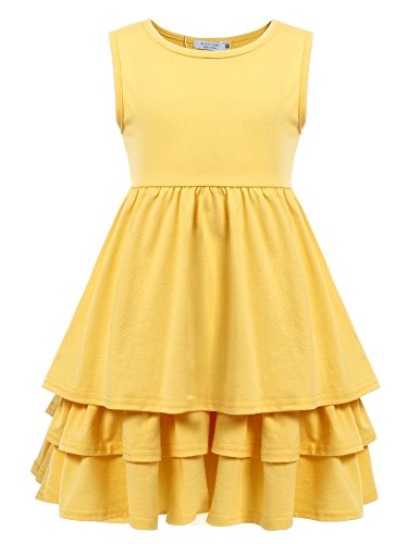 Arshiner Kids Girls Sleeveless Ruff Multi Tier Pleated Solid Casual Cute Dress, Yellow, 100(Age for 3-4Y)