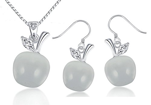 Apple Pendant Necklace and Earrings Set Women Jewelry - Plated Silver Moonstone Gift Apple Necklace Earrings