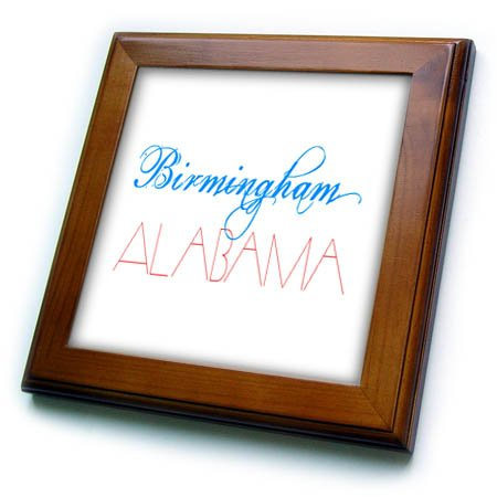 (3dRose Alexis Design - American Cities - American Cities - Birmingham Alabama, blue, red on white - 8x8 Framed Tile (ft_283708_1))