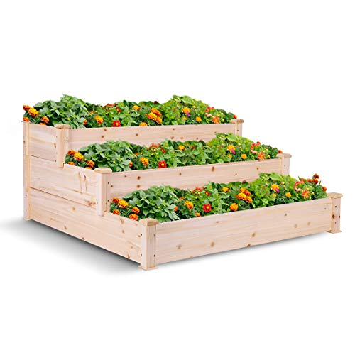 (VIVOHOME Wooden 3 Tiers Elevated Raised Garden Bed Planter Box for Flower Vegetable Grow 49 Inch x 49 Inch x 22 Inch)
