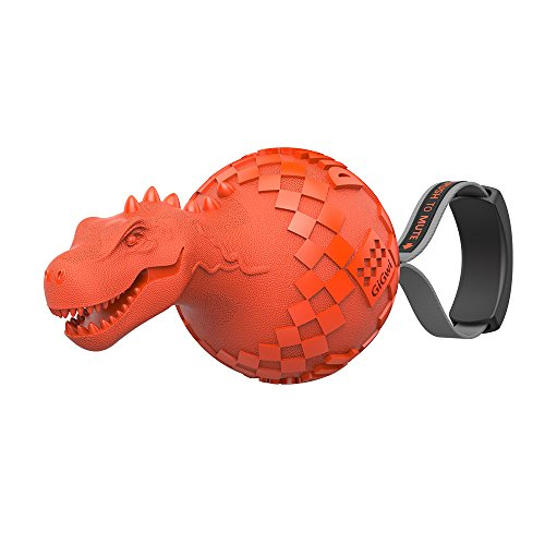 Gigwi Push to Mute Dog Squeaky Chew Toy T-rex Dino Ball 6 Inches-Durable Rubber Squeaky Dog Toy & Dinosuar Chew Toys for Dogs Small and Medium Size, Orange Color Review