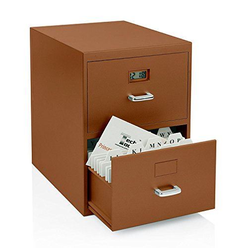Miniature File Cabinet for Business Cards with Built-in Digital Clock PI-9617 (Cute Cabinet)