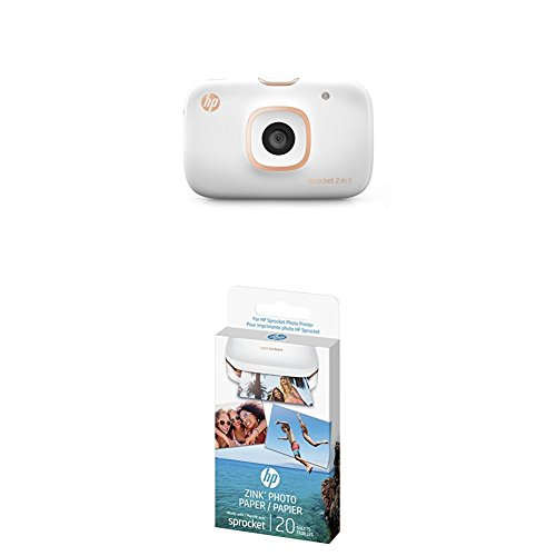 HP Sprocket 2-in-1 Portable Photo Printer & Instant Camera with Photo Paper - 20 sheets