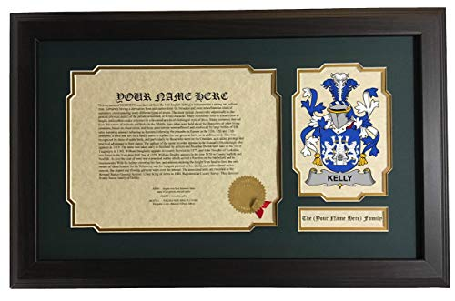 Kelly - Coat of Arms and Last Name History, 14x22 Inches Matted and -