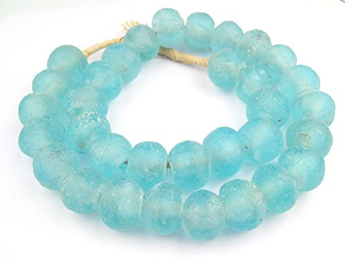 Jumbo Recycled Glass Beads - Beaded Wall Hangings - Extra Large African Sea Glass Beads 21-25mm - The Bead Chest (Clear Marine) (Fair Trade Glass Beaded Necklace)