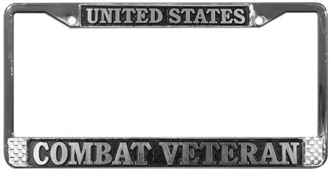 TAG FRAMES (MILITARY) United States Combat Veteran License Plate Frame (Chrome Metal)