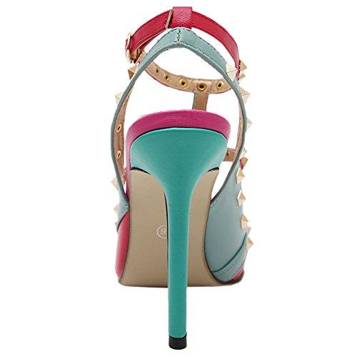 HooH Mujer Sandalias Stiletto De punta estrecha Multicolor Sexy Dos Correa Gladiator Zapatos de tacón Rojo