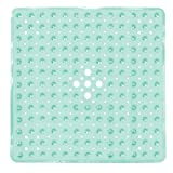 Yimobra Original Bath Shower Tub Mat Square 21x21 Inch,Machine Washable,BPA,Latex,Phthalate Free,Bathroom Mats with Drain Holes, Suction Cups,Clear Green