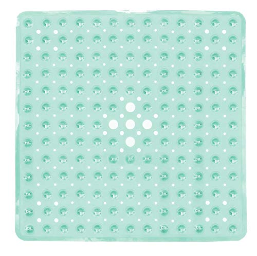 Yimobra Original Bath Shower Tub Mat Square 21x21 Inch,Machine Washable,BPA,Latex,Phthalate Free,Bathroom Mats with Drain Holes, Suction Cups,Clear Green ()