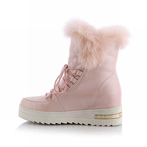 Carolbar Women's Cute Sweet Faux-Fur Hidden Heel Platform Snow Boots Pink UajWVea