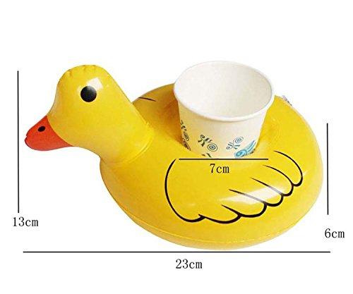 Clerfy Acc Inflable Flotador Posavasos con Mini Bomba de Aire para Fiesta de Piscina Diversión en el Agua, Siempre Bebe en Estilo Mágico (Pato Amarillo): ...