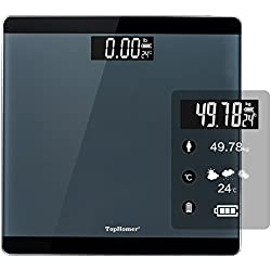 TOP-MAX Digital Bathroom Scale, Precise Body Weight Scale with Step-on Technology, 400 pounds, Large LCD Backlight Display and Low Battery Indication (Black)- Home Scale