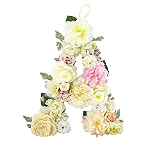 DARONGFENG RuralStyle Floral Letters, Handmade Wood Artificial Flower Letter Monogram for Wall Door Desk Top Decoration, Nursery/Baby Shower/Children Room/Wedding /Birthday Party Decor 35