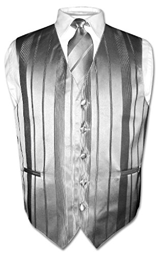 Men's Dress Vest & NeckTie SILVER GREY Color Woven Striped Design Neck Tie Set M