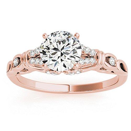 Allurez Diamond-Accented Antique-Style Custom Engagement Ring Setting in 18k Rose Gold -