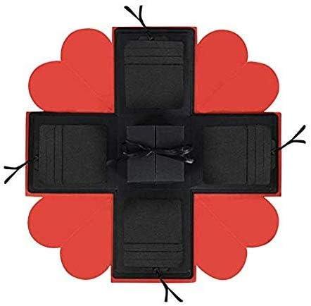 Wmchiwan Cumpleaños San Valentín Aniversario Bodas Regalo Romántico Caja (Cumpleaños: Negro+Rojo)  Paquete de Regalo Explosión Caja Álbum: Amazon.es: Hogar