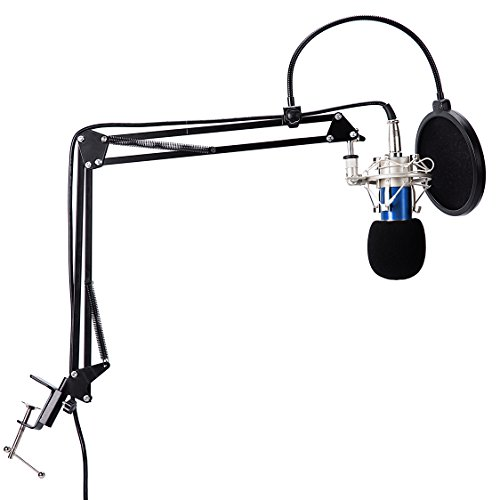 VXMBA BM-700 Professional Condenser Microphone Bundle with Adjustable Suspension Sciccor Arm, Pop Filter, Shock-proof Mount and Sound Card for Studio Recording