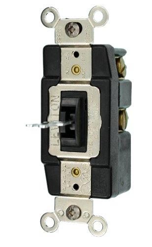 Leviton 1285-L 20-Amp 120/277-Volt Toggle Single-Pole AC Quiet Switch, Black -