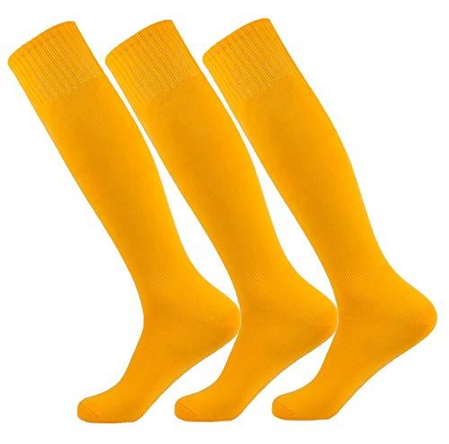 (Gold/Yellow Large Performance Moisture Wicking Tube Sock Baseball Softball Volleyball Basketball A4 Men Women Socks (3Pairs-Gold/Yellow))