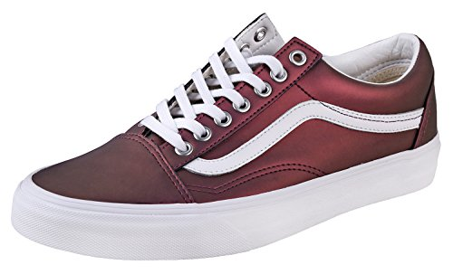Vans Women's Muted Metallic Old Skool Skate Shoes (8 B(M) US, (Muted Metallic) Red/Gold) (Red Women Vans)