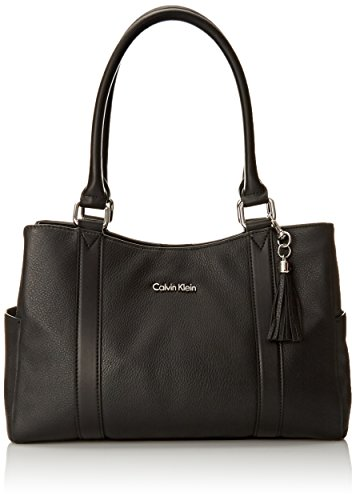Calvin Klein Calvin Klein Pebble Shopper Satchel Bag BlackSilver One Size