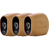 3x Silicone Skins for Arlo Smart Security - 100% Wire-Free Cameras by Wasserstein (3 Pack, Brown)
