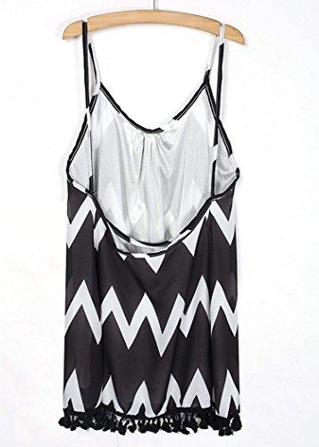 Zeagoo - Sexy Robe chic élégant courte robe de plage robe en mousseline col V dos nu femme 2015 été