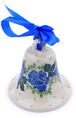 (Polish Pottery 2¾-inch Bell Ornament Made by Ceramika Artystyczna (Floral Spring Theme) + Certificate of Authenticity)