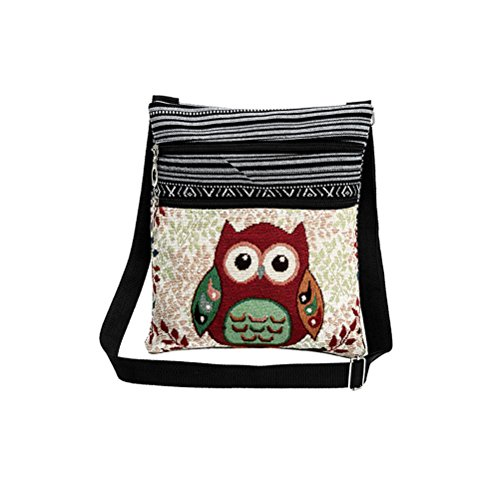 Bag Women Canvas Messenger Printed Shoulder Bag Shopping Zipper Tinksky Bohemian Pouch Bag Crossbody Hobo Bag Owl Satchel znTw6qwF