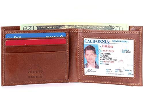 - Alpine Swiss Mens Top Grain Leather Slimfold Wallet Distressed Brown