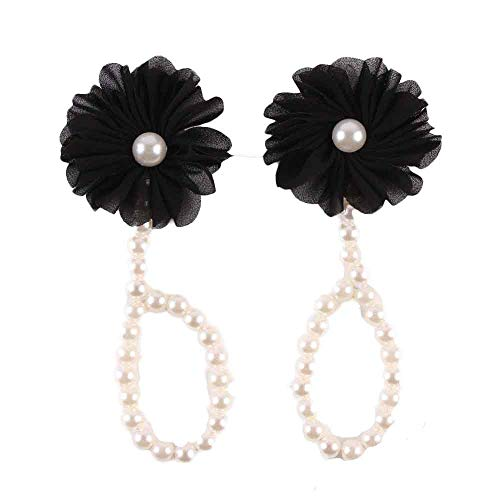DZT1968  Baby Girl Pearl Chiffon Foot Flower Shoes Barefoot Sandals (Black)