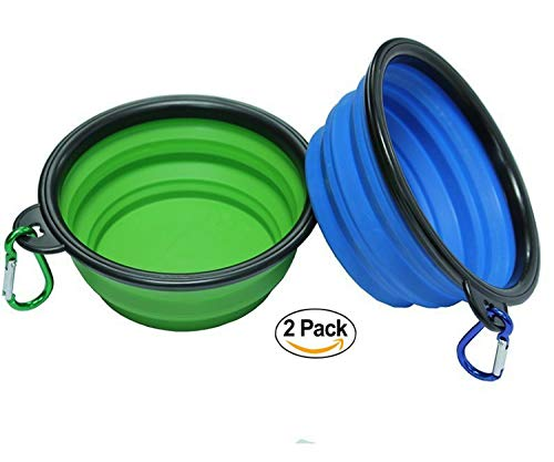 Moggiez & Doggiez Dog Bowls - Pack of Two - FDA Approved Collapsible Travel Water Bowl for Dogs - Suitable as a Cat Food Bowl - Get Ready for Your Next Four Legged Adventure - Pair