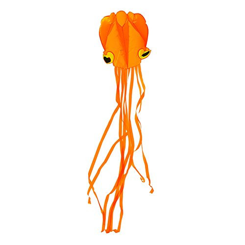 Darget Giant Octopus Kite for Adults and Kids - 3D Kite Orange+Orange Tail 4M Handle & String Included