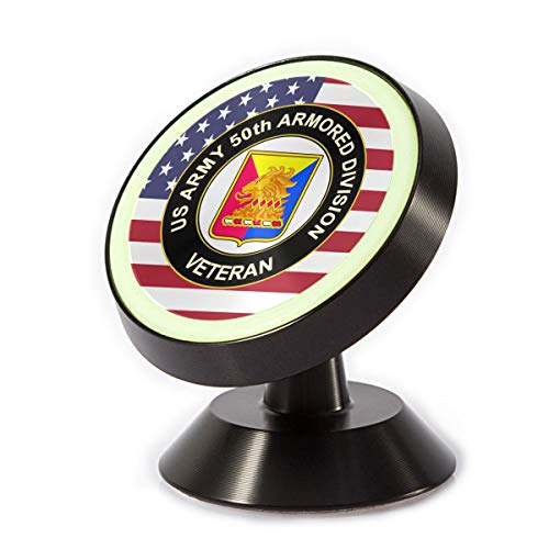 POWERTIGER G Universal Magnetic Phone/GPS Suction Cup Mount - US Army 50th Armor Unit Crest Veteran