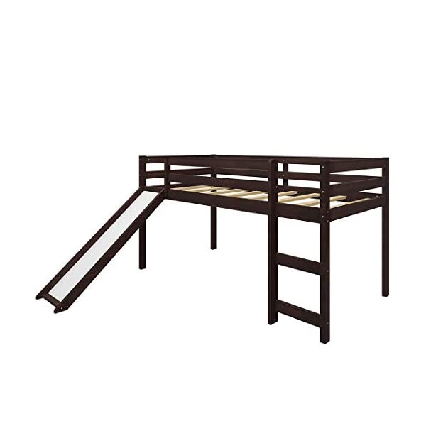 Twin Loft Bed with Slide for Kids/Toddlers, Wood Low Sturdy Loft Bed, No Box Spring Needed 5