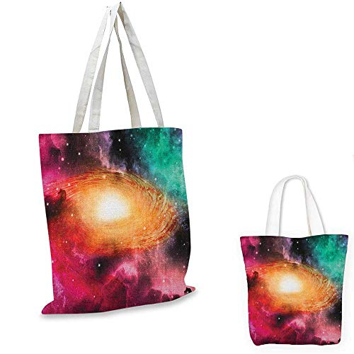 Zodiac portable shopping bag Colorful Astronomy Pictures Of A Spiral Galaxy Stars Stardust and Cosmos shopping bag for women Pink Orange Green. 13