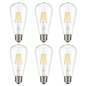 Dimmable Edison LED Bulb, Kohree 6W Vintage LED Filament Light Bulb, 2700K Soft White, 60W Incandescent Equivalent, E26 Medium Base Lamp for Restaurant,Home,Reading Room,Office, Pack of 6
