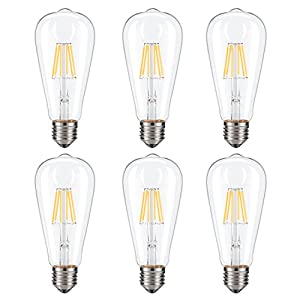 Dimmable Edison LED Bulb, Soft Warm White 2700K, Kohree 6W Vintage LED Filament Light Bulb, 60W Incandescent Equivalent, E26 Medium Base Lamp for Restaurant,Home,Reading Room,Office, 6-Pack