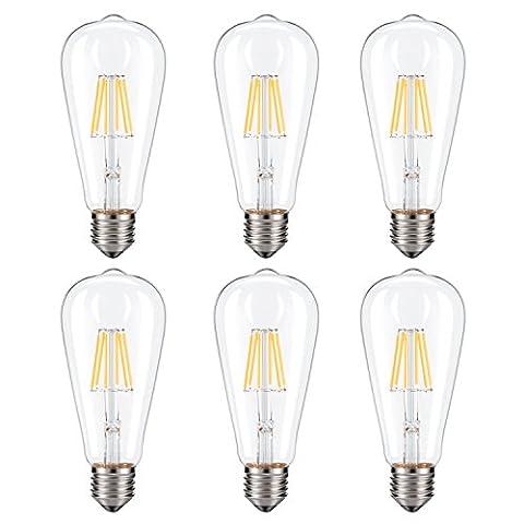 Dimmable Edison LED Bulb, Kohree 6W Vintage LED Filament Light Bulb, 2700K Soft White, 60W Incandescent Equivalent, E26 Medium Base Lamp for Restaurant,Home,Reading Room,Office, Pack of (60w Led Edison Bulb)