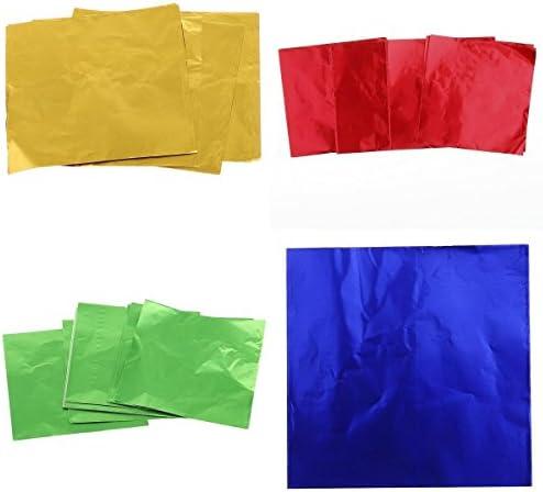 約400枚 キャンディ/チョコ/ケーキ包装用 アルミ箔紙 包み用紙 ギフト包装 好意 結婚式 全3種選 - 黄/赤/緑/青, 8×8cm