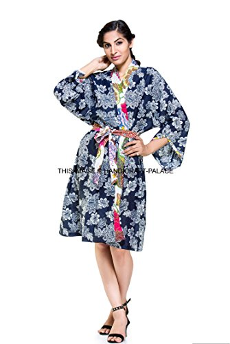9993bc3ab6 Ladies Floral 100% Cotton Summer Waffle Bath Robe   Dressing Gown Indian  Kimono