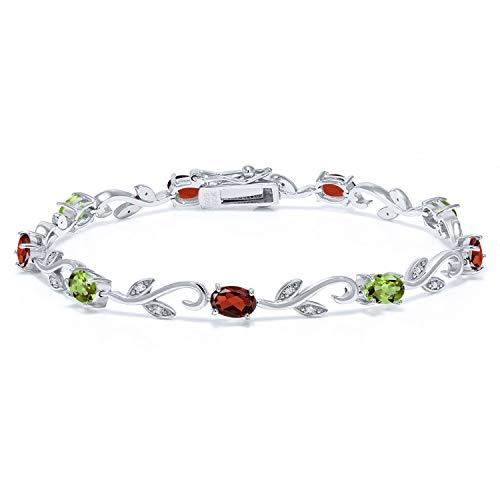 Build Your Own - Personalized 9 Birthstones Diamond Bracelet 925 Sterling Silver Greek Vine Bracelet